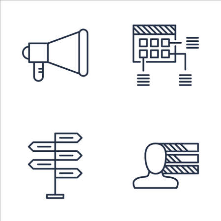 personality development: Set Of Project Management Icons On Promotion, Personality, Decision Making And More. Premium Quality EPS10 Vector Illustration For Mobile, App, UI Design.