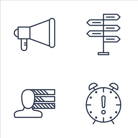 personality development: Set Of Project Management Icons On Decision Making, Deadline, Promotion And More. Premium Quality EPS10 Vector Illustration For Mobile, App, UI Design.