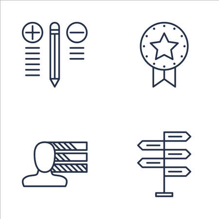 personality development: Set Of Project Management Icons On Personality, Decision Making, Best Solution And More. Premium Quality EPS10 Vector Illustration For Mobile, App, UI Design. Illustration
