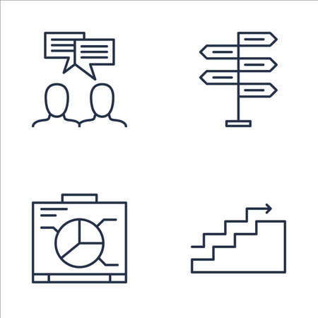 Set Of Project Management Icons On Graph, Decision Making, Charts