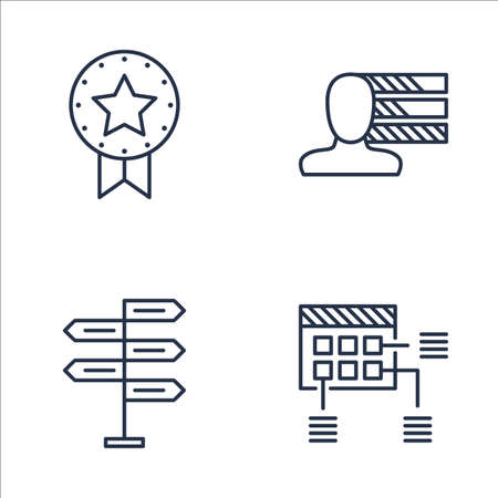 personality development: Set Of Project Management Icons On Planning, Decision Making, Award And More. Premium Quality EPS10 Vector Illustration For Mobile, App, UI Design.
