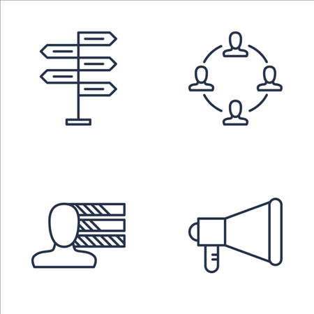 personality development: Set Of Project Management Icons On Decision Making, Teamwork, Personality And More. Premium Quality EPS10 Vector Illustration For Mobile, App, UI Design. Illustration