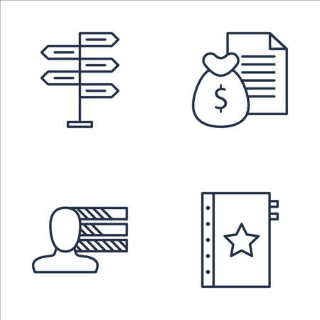 personality development: Set Of Project Management Icons On Decision Making, Money Revenue, Personality And More. Premium Quality EPS10 Vector Illustration For Mobile, App, UI Design.