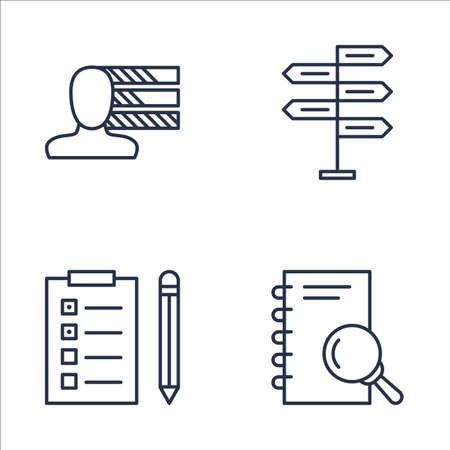 personality development: Set Of Project Management Icons On Personality, Research, Decision Making And More. Premium Quality EPS10 Vector Illustration For Mobile, App, UI Design.