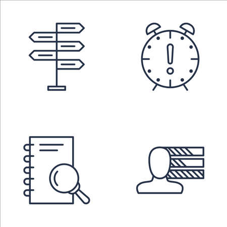 personality development: Set Of Project Management Icons On Decision Making, Deadline, Research And More. Premium Quality EPS10 Vector Illustration For Mobile, App, UI Design.