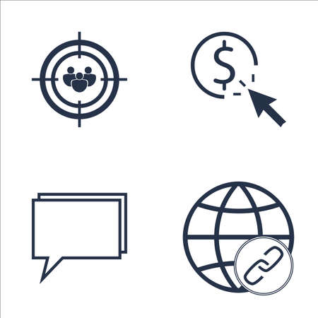 targeting: Set Of SEO, Marketing And Advertising Icons On Pay Per Click, Online Consulting, Audience Targeting And More. Premium Quality EPS10 Vector Illustration For Mobile, App, UI Design. Illustration