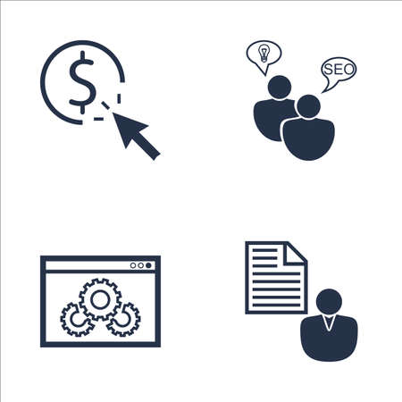 brief: Set Of SEO, Marketing And Advertising Icons On SEO Consulting, Client Brief, Pay Per Click And More. Premium Quality EPS10 Vector Illustration For Mobile, App, UI Design. Illustration
