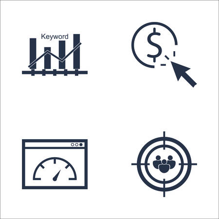 page rank: Set Of SEO, Marketing And Advertising Icons On Keyword Ranking, Audience Targeting, Page Speed And More. Premium Quality EPS10 Vector Illustration For Mobile, App, UI Design.