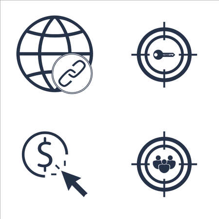 keywords link: Set Of SEO, Marketing And Advertising Icons On Target Keywords, Pay Per Click, Link Building And More. Premium Quality EPS10 Vector Illustration For Mobile, App, UI Design.