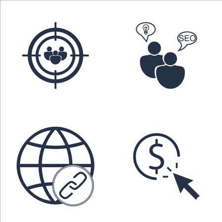 targeting: Set Of SEO, Marketing And Advertising Icons On Pay Per Click, SEO Consulting, Audience Targeting And More. Premium Quality EPS10 Vector Illustration For Mobile, App, UI Design.