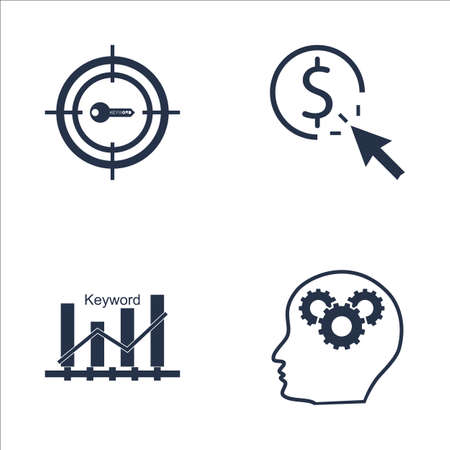 keyword: Set Of SEO, Marketing And Advertising Icons On Pay Per Click, Keyword Ranking, Creativity And More. Premium Quality EPS10 Vector Illustration For Mobile, App, UI Design.