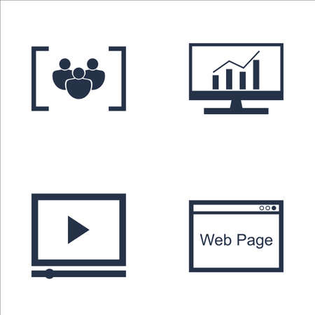 comprehensive: Set Of SEO, Marketing And Advertising Icons On Video Advertising, Web Page, Comprehensive Analytics And More. Premium Quality EPS10 Vector Illustration For Mobile, App, UI Design.