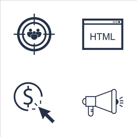 targeting: Set Of SEO, Marketing And Advertising Icons On Pay Per Click, Audience Targeting, HTML Code And More. Premium Quality EPS10 Vector Illustration For Mobile, App, UI Design. Illustration