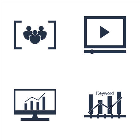 comprehensive: Set Of SEO, Marketing And Advertising Icons On Comprehensive Analytics, Video Advertising, Keyword Ranking And More. Premium Quality EPS10 Vector Illustration For Mobile, App, UI Design.