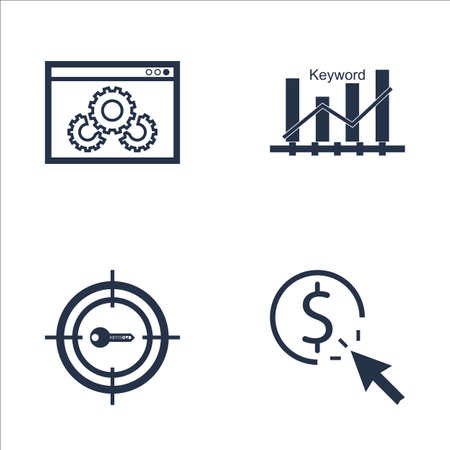 keyword: Set Of SEO, Marketing And Advertising Icons On Website Optimization, Keyword Ranking, Pay Per Click And More. Premium Quality EPS10 Vector Illustration For Mobile, App, UI Design.