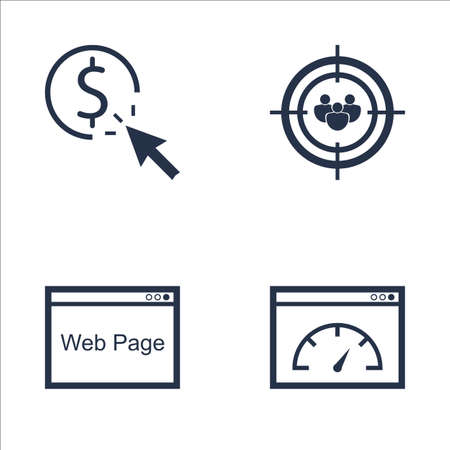 targeting: Set Of SEO, Marketing And Advertising Icons On Audience Targeting, Pay Per Click, Web Page And More. Premium Quality EPS10 Vector Illustration For Mobile, App, UI Design. Illustration