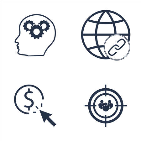 targeting: Set Of SEO, Marketing And Advertising Icons On Audience Targeting, Pay Per Click, Creativity And More. Premium Quality EPS10 Vector Illustration For Mobile, App, UI Design.
