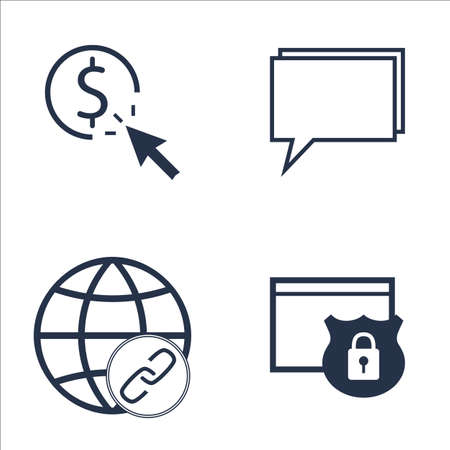 link building: Set Of SEO, Marketing And Advertising Icons On Pay Per Click, Online Consulting, Link Building And More. Premium Quality EPS10 Vector Illustration For Mobile, App, UI Design.