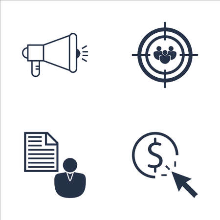 targeting: Set Of SEO, Marketing And Advertising Icons On Pay Per Click, Client Brief, Audience Targeting And More. Premium Quality EPS10 Vector Illustration For Mobile, App, UI Design. Illustration