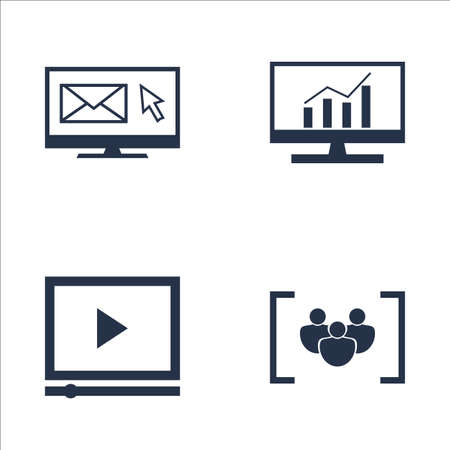comprehensive: Set Of SEO, Marketing And Advertising Icons On Comprehensive Analytics, Video Advertising, Focus Group And More. Premium Quality EPS10 Vector Illustration For Mobile, App, UI Design.