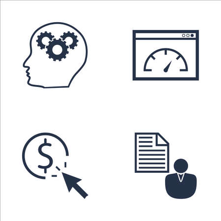 brief: Set Of SEO, Marketing And Advertising Icons On Client Brief, Page Speed, Creativity And More. Premium Quality EPS10 Vector Illustration For Mobile, App, UI Design.