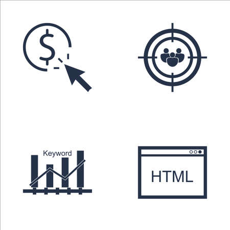 keyword: Set Of SEO, Marketing And Advertising Icons On Pay Per Click, HTML Code, Keyword Ranking And More. Premium Quality EPS10 Vector Illustration For Mobile, App, UI Design. Illustration