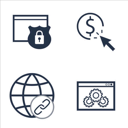link building: Set Of SEO, Marketing And Advertising Icons On Website Protection, Link Building, Pay Per Click And More. Premium Quality EPS10 Vector Illustration For Mobile, App, UI Design.