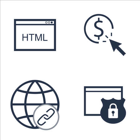 link building: Set Of SEO, Marketing And Advertising Icons On Website Protection, Pay Per Click, Link Building And More. Premium Quality EPS10 Vector Illustration For Mobile, App, UI Design. Illustration