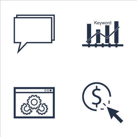 keyword: Set Of SEO, Marketing And Advertising Icons On Pay Per Click, Website Optimization, Keyword Ranking And More. Premium Quality EPS10 Vector Illustration For Mobile, App, UI Design. Illustration