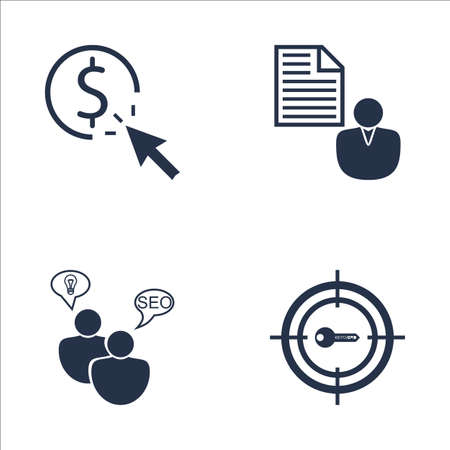brief: Set Of SEO, Marketing And Advertising Icons On Client Brief, Target Keywords, Pay Per Click And More. Premium Quality EPS10 Vector Illustration For Mobile, App, UI Design. Illustration