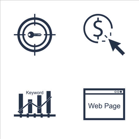 page rank: Set Of SEO, Marketing And Advertising Icons On Pay Per Click, Web Page, Keyword Ranking And More. Premium Quality EPS10 Vector Illustration For Mobile, App, UI Design.