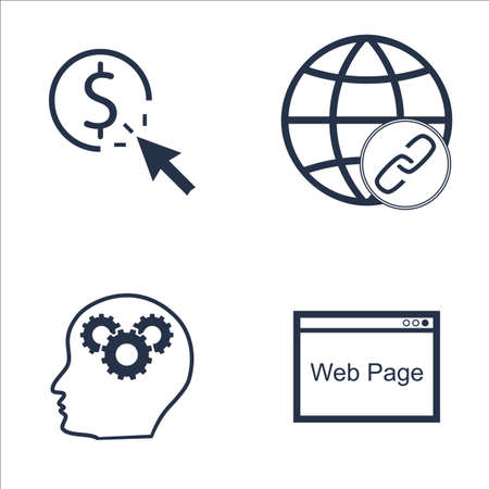link building: Set Of SEO, Marketing And Advertising Icons On Creativity, Link Building, Web Page And More. Premium Quality EPS10 Vector Illustration For Mobile, App, UI Design.