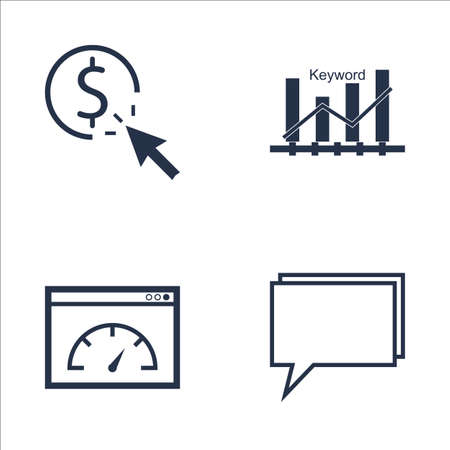 page rank: Set Of SEO, Marketing And Advertising Icons On Pay Per Click, Keyword Ranking, Online Consulting And More. Premium Quality EPS10 Vector Illustration For Mobile, App, UI Design. Illustration