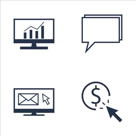 comprehensive: Set Of SEO, Marketing And Advertising Icons On Pay Per Click, Email Marketing, Comprehensive Analytics And More. Premium Quality EPS10 Vector Illustration For Mobile, App, UI Design.