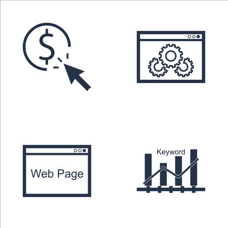 keyword: Set Of SEO, Marketing And Advertising Icons On Keyword Ranking, Pay Per Click, Web Page And More. Premium Quality EPS10 Vector Illustration For Mobile, App, UI Design. Illustration