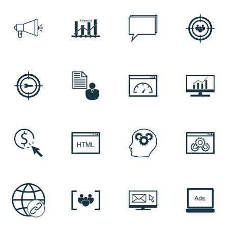 Set Of Marketing Icons On Keyword Marketing, Brain Process And PPC Topics. Editable Vector Illustration. Includes Brief, Keyword And Optimization Vector Icons.