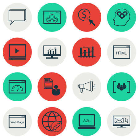 ppc: Set Of Marketing Icons On Website Performance, PPC And Video Player Topics. Editable Vector Illustration. Includes Newsletter, Focus And Community Vector Icons.