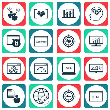 bulding: Set Of SEO Icons On Digital Media, Market Research And Report Topics. Editable Vector Illustration. Includes Consulting, Newsletter And Bulding Vector Icons. Illustration