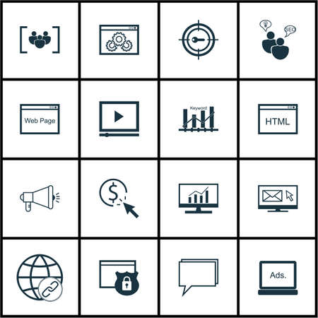 Set Of Marketing Icons On Coding, Media Campaign And SEO Brainstorm Topics. Editable Vector Illustration. Includes Online, Viral And Page Vector Icons. Illustration