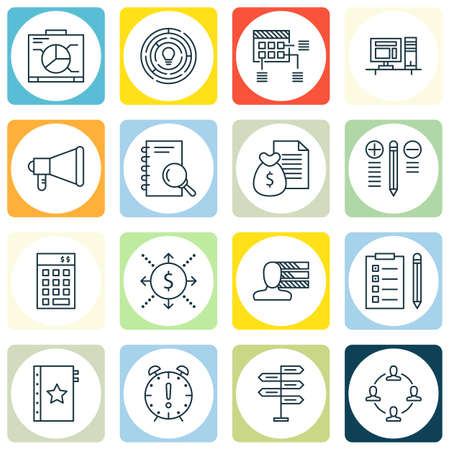 personality development: Set Of Project Management Icons On Decision Making, Reminder And Collaboration Topics. Editable Vector Illustration. Includes List, Plan And Teamwork Vector Icons.