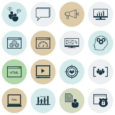 keyword: Set Of 16 Universal Editable Icons For Advertising, Marketing And SEO Topics. Includes Icons Such As Report, Keyword Optimisation, SEO Brainstorm And More. Illustration