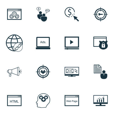 Set Of Advertising Icons On PPC, Market Research And Website Topics. Editable Vector Illustration. Includes SEO, Research And Bulding Vector Icons.