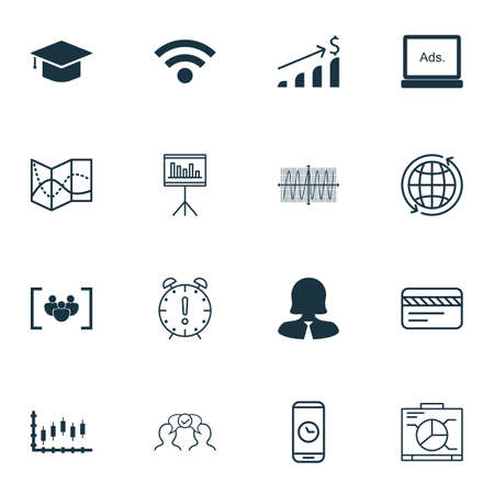 Set Of 16 Universal Editable Icons For Statistics, Human Resources And Education Topics. Includes Icons Such As Road Map, Successful Investment, Business Woman And More. Illustration