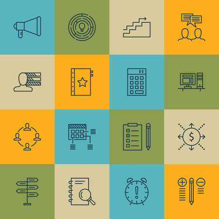 personality development: Set Of Project Management Icons On Discussion, Money And Reminder Topics. Editable Vector Illustration. Includes Chart, Right And Collaboration Vector Icons.