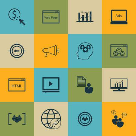 Ensemble d'icônes marketing sur la connectivité, lecteur vidéo et le rapport Sujets. Editable Vector Illustration. Comprend Analytics, le client et le groupe Vector Icons.