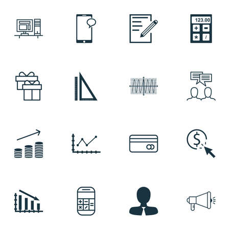 Set Of 16 Universal Editable Icons For Statistics, Education And Advertising Topics. Includes Icons Such As Coins Growth, Changes Graph, Calculation And More. Illustration