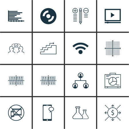 cosinus: Set Of 16 Universal Editable Icons For Education, Project Management And Computer Hardware Topics. Includes Icons Such As Sinus Graph, Decision Making, Cosinus Diagram And More. Illustration