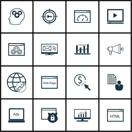 ppc: Set Of SEO Icons On PPC, Keyword Marketing And Security Topics. Editable Vector Illustration. Includes Advertising, Security And Bulding Vector Icons.