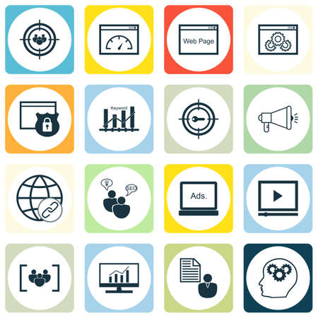 Set Of Publicité Icônes sur les mots-clés Optimisation, Performance du site et des sujets du groupe de discussion. Editable Vector Illustration. Comprend complète, le client et conseil icônes vectorielles.