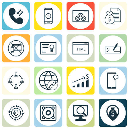 Set Of 16 Universal Editable Icons For Airport, Travel And Education Topics. Includes Icons Such As Cellular Data, Bank Payment, Call Duration And More. Illustration